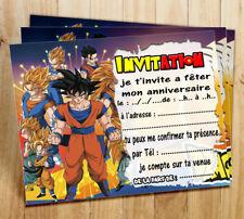 Cartes invitation anniversaire Dragon Ball par  4 ou 12