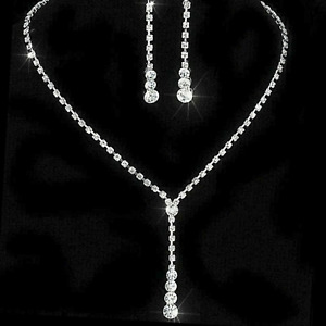 Rhinestone Drop Necklace and Earrings Set Sterling Silver NEW