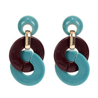 Women Acrylic Geometric Round Statement Dangle Drop Earrings Jewelry Gift