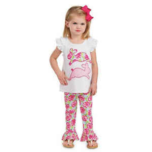 Mud Pie E1 Easter Baby Toddler Girl Bunny Tunic & Legging Set 1112282