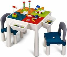 Kids Activity Table Set Building Block Table Multi-functional w/ Storage Space