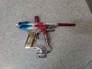 """WGP Black Magic Autococker Paintball Marker Red """"White"""" and Blue finish"""