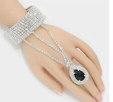 Black Clear Crystal Rhinestone Wedding Formal Slave Hand Chain Ring Bracelet