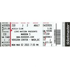Maroon 5 & Magic! & Rozzi Crane Full Concert Ticket Stub 3/2/15 Washington Dc