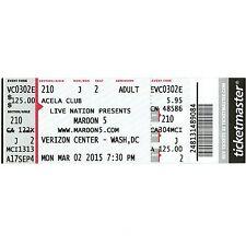 MAROON 5 & MAGIC! & ROZZI CRANE Full Concert Ticket Stub 3/2/15 WASHINGTON DC