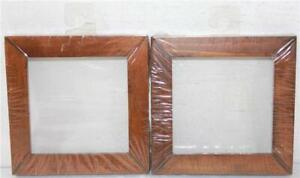 "2 Small 5"" Square Dark Wood Frame For Small Cross Stitch Finishes No Glass"