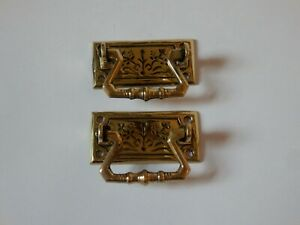 1x Pair of Small Ornate Vintage Brass Cabinet Drawer Drop Pull Handles #IM1506
