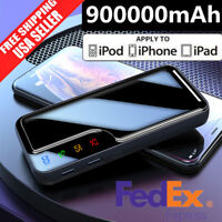 900000mAh New Mirror Portable Power Bank 2USB LED External Battery Pack Charger