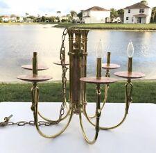 Nulco Swan Brass & Marble Chandelier 6 Candelabra Bulbs
