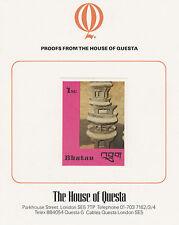 Bhutan 2641 - 1988 HANDICRAFTS & ANTIQUES 1nu on HOUSE OF QUESTA PROOF  CARD