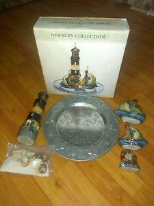 NIB Newbury Lighthouse Candle Garden 2 Sailboats Steel Tray Sand Shells+