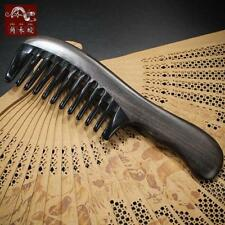 Antistatic Natural Black Buffalo Horn Wide Toothed Comb Wooden Handle Hair Comb