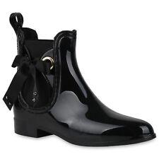 Damen Stiefeletten Gummistiefel Lack Regenstiefel Nieten Boots 821574 Schuhe
