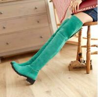 Retro Womens Faux Suede Winter Causal Shoes Low Heel Ladies Over the Knee Boots