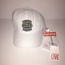 Supreme X LACOSTE Twill Cap 6 Panel-Bianco-in mano