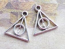 100 Tibet Silver Tone Alloy Triangle Round Deathly Hallows Charms Pendants 13mm