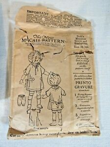 """McCall Antique Sewing Pattern 20"""" Doll Early 1900's Bloomer Dress Sunbonnet"""