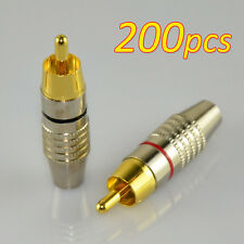 200Pcs RCA Plug Solder Free Solderless Gold Audio Video Adapter Plug Connector