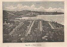 A5651 Porto Castries - Veduta - Xilografia - Stampa Antica del 1895 - Engraving