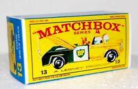 Matchbox Lesney No 13  Dodge Wreck Truck Empty Box Repro style E
