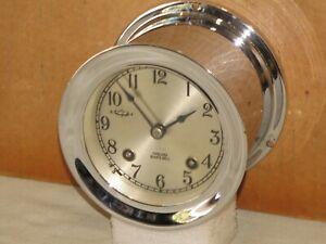 CHELSEA VINTAGE SHIPS BELL CLOCK~3 3/4 IN DIAL~1965~NICKEL PLATE~RESTORED