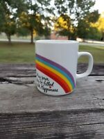 """Vintage 1984 Avon """"May your day be filled with happiness"""" rainbow coffee mug"""