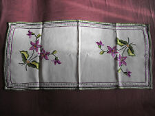 #1526  Vintage Hand Embroidwred Linen Table Runner  84cm/39cm(33''x15'')