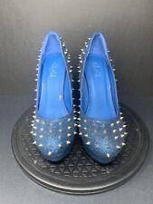 Healing Heels The lauren shoe sparkling blue giltter with spikes