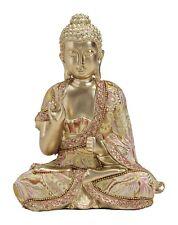 Großer Buddha Figur Skulptur mit Stoff gold rot rosa sitzend Lotus Neu ca. 20 cm