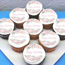 "Floral Happy Birthday Edible Icing Cupcake Toppers - 2"" - PRE-CUT - Sheet of 15"