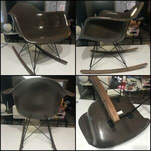(1x) BROWN MCM Herman Miller Eames Fiberglass Rocker Shell Chair