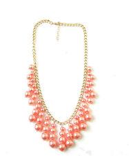 Coral Pink Gold Fringe Necklace Pearl Art Deco Festival Boho Vintage 1920s 407