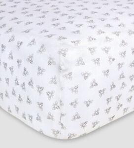 Burt's Bees Baby Organic Cotton Fitted Crib Sheet Gray Bee Nursery