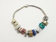 "Euaropean Bead Slide Charm Bracelet with 12 Charms 8 1/2"""