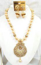 3Pc Indian Gold Plated Traditional Diamond Fashion Jewelry Designer Set