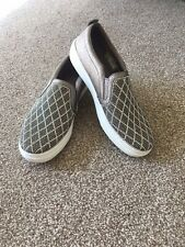Size 5 Skechers Slip On Silver Grey Flat Shoes With Jewel Effect Pattern
