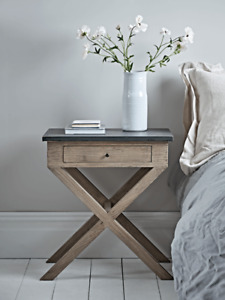 Cox & Cox Distressed Cross Leg One-Drawer Bedside Table - RRP £325