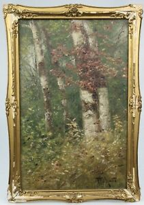 HARRY FLUHART WILLIAMS Antique American School Oil / Panel BIRCH TREES IN AUTUMN