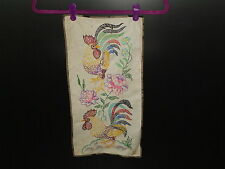 Vintage Embroidery of 2 Roosters and Flowers 1940's - 1950's