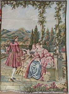 Antique Italian Tapestry Wall Romantic Love Scene Victorian Gobelin Tapestry Wal