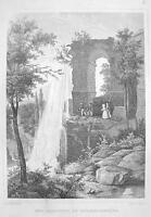 GERMANY Wilhelmshohe Aqueduct - 1860 Original Engraving Print