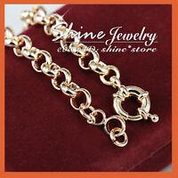 18K GOLD FILLED SAFE BOLT RINGS CHAIN HEART WOMENS SOLID BELCHER BRACELET BANGLE