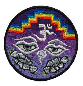 Gestickte Patches Yeux Von Buddha Lotus Violett Schamane Made Hand Tibet Nepal
