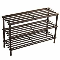 3 Tier Slated Shoe Rack Oak Wooden Storage Stand Organiser Unit By Home Discount