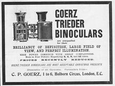 GOERZ TRIEDER BINOCULARS - Antique Edwardian Advert 1903