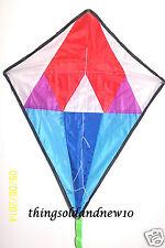"Geometric Diamond Kite:White &Blue w/ Red Tip:24.5""W X 30"" H:Boy/Girl Age 7 & Up"