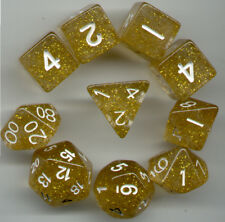 RPG Dice 10pc - Glitter Yellow  - 1 @ D4 D8 D10 D12 D20 D00-10 & 4 D6