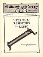 Vitrohm Resistors for Radio Ward Leonard Electric Co.1926 Illustrated Circular