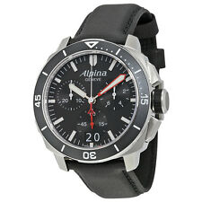 Alpina Seastrong Diver 300 Big Date Chronograph Black Dial Black Leather Mens