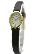 New Timex Cavatina Women Gold Brown Leather Band Dress Petite Watch 18mm T2N256